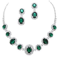 Emerald Green Regal Statement Bridal Bridesmaid Necklace Earring Set Silver Tone G2 * Read more at the affiliate link Amazon.com on image.