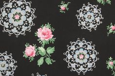 1940's Vintage Wallpaper Pink Roses and Blue by RosiesWallpaper, $18.00
