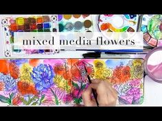 creating a mixed media floral spread