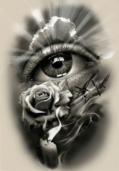 Tattoo Design, realistic eye with rose and candle.
