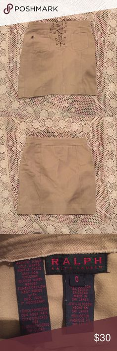 Ralph Lauren khaki skirt Tan/khaki lace up skirt with two front pockets. Fits tightly. Awesome condition 👌🏻 Ralph Lauren Skirts Mini