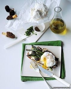 Morel and Asparagus Sandwiches with Poached Egg Recipe