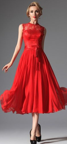Red High Collar Overlace Cocktail Dress