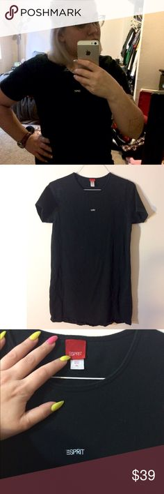 """Vintage 1990s Esprit T-Shirt Dress Super cool and comfortable, stretchy Esprit tee dress! Love this style 😍 black with a tiny """"ESPRIT"""" embroidered on chest Vintage Dresses"""