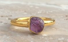 Raw Amethyst 18 kt Gold Vermeil Ring  Rough Natural by LavantaBay, £38.00