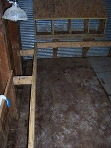 Disinfect coop with equal parts water & white vinegar. Design: I like the rail-roosts and nest boxes off the floor.