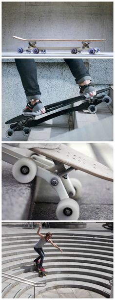 Don't let stairs ruin your fun. The Stair-Rover longboard's unique eight-wheeled mechanism makes the board equally at home cruising smooth pavements or gliding down stairs.