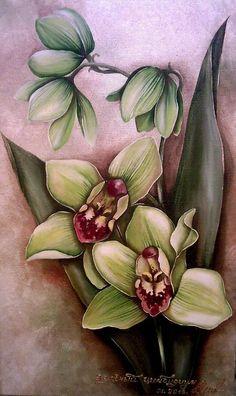 """Орхидея """"Зеленый цимбидиум"""" - Изобразительное искусство - Масло, акрил"""