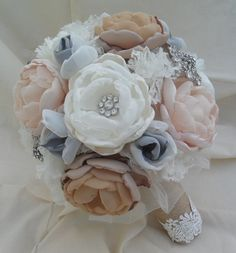 Large rustic vintage fabric bouquet in coral shades with a touch of grey, crystals,brooches, lace and burlap handle- deposit listing