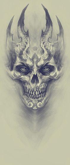 Demon, Kazimirov Dmitriy - Beautiful Skull More - . - Demon, Kazimirov Dmitriy – Beautiful Skull More – - Skull Tattoo Design, Skull Tattoos, Body Art Tattoos, Tattoo Designs, Evil Skull Tattoo, Angel Demon Tattoo, Key Tattoos, Rose Tattoos, Tatoos