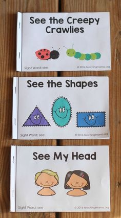 Free printable booklets for the sight word see. Sight Word Booklets, Sight Word Readers, Sight Words Printables, Sight Words List, Sight Word Games, Sight Word Activities, Language Activities, Kindergarten Activities, Kindergarten Classroom