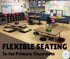 Flexible Seating in the Primary Classroom. Includes seating options and how a first grade teacher implemented flexible seating. Lots of great tips! Classroom Layout, Classroom Organisation, Classroom Setting, Classroom Design, Classroom Decor, Classroom Management, Future Classroom, Class Management, Behavior Management