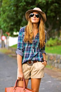 Floppy hat, plaid button down, cowboy belt & khaki shorts