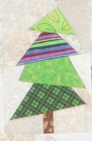 Christmas Flag Quilt, week 5 -- click through to the Quilters Newsletter website for the next three free full-size foundation patterns: trees 9R, 10 and 10R.