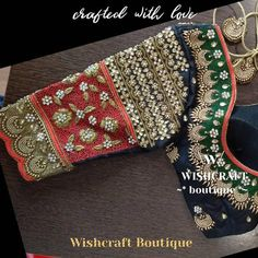 Bridal blouse with heavy embroidery. Designer saree blouse with beautiful handwork indian blouse maggam work blouse fast shipping. Wedding Saree Blouse Designs, Pattu Saree Blouse Designs, Fancy Blouse Designs, Wedding Blouses, Sari Bluse, Hand Work Blouse Design, Cut Work Blouse, Mode Statements, Maggam Work Designs