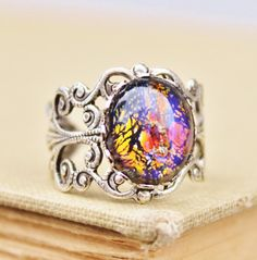 RARE Vintage Black Fire Opal Ring,Silver Opal Ring,Vintage Glass Harlequin Opal,Rainbow Foil Glass,STRONG Silver Adjustable Filigree Ring,