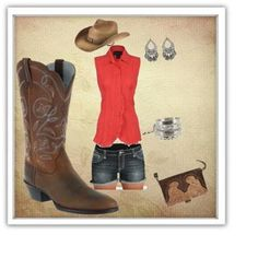 cute everyday sumer outfit. Denim shorts, salmon top, western boots, western hat, matching jewlery, cute western looking purse.