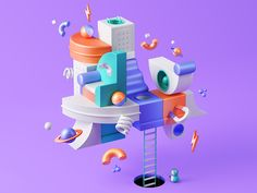 Ueno Branding : Gone Fishin' designed by ueno. Connect with them on Dribbble; the global community for designers and creative professionals. Graphic Design Trends, 3d Design, Marble Maze, Isometric Design, Retro Advertising, 3d Artwork, Blender 3d, Design Graphique, Motion Design