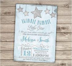 Twinkle Twinkle Little Star Boy Baby Shower Invitations Shabby Chic Blue and Grey Glitter Theme Party its a boy Vintage Personalized Star Baby Showers, Baby Shower Parties, Baby Shower Themes, Baby Shower Decorations, Baby Boy Shower, Shower Ideas, Shower Party, Party Themes For Boys, Baby Shower Vintage