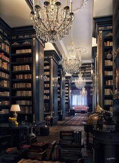 Gothic Interior, White Interior Design, Interior Modern, Interior Architecture, Interior And Exterior, Modern Decor, Home Libraries, Dark Interiors, Gothic House