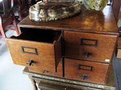 Vintage Library Card Catalog File - 4 Drawer Oak Cabinet Organizer - Brass Pulls on Etsy, $150.00