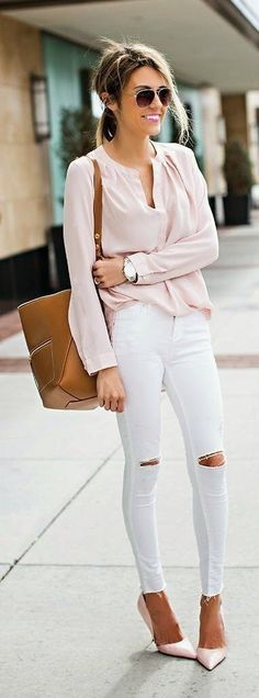 Shop The Look! Cute summer white jeans for travel and vacation! Hello Fashion - Pink Sleeve Blouse, White Ripped Skinny Jeans, Camel Leather Handbag and Pink Pumps Looks Chic, Looks Style, Mode Outfits, Casual Outfits, Denim Outfits, Casual Clothes, Casual Heels, Spring Summer Fashion, Spring Outfits