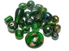 Lot of Green Lamp work and Glass Beads DIY by gagirljewelryandgift, $1.75