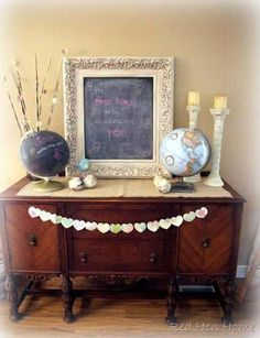 Love Makes the World Go Round...so HEART the chalk painted globe!  OKAY LOVE THIS. Get in my life right now.