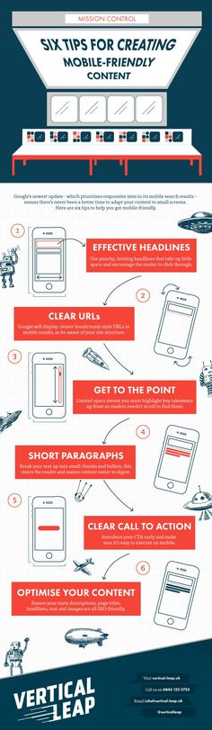 Devising A Mobile Content Strategy For Optimum Content Accessibility - #infographic http://www.digitalinformationworld.com/2015/08/infographic-tips-for-creating-mobile-friendly-content.html via @digitaliworld 6 tips for creating mobile-friendly content - #infographic