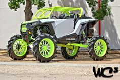 "Toxic. A custom Polaris RZR XP 1000 by the crew over at WC3. Custom wheels and roll cage on an 8"" lift. #WC3 #WoodsCycleCountry #Polaris #RZR http://www.RZRXP1K.com"