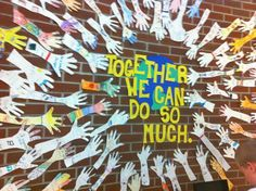 Bulletin board idea for beginning of school year. Have pupils write about themselves and something they can do well on their arm cutout. Classroom Bulletin Boards, Classroom Door, Classroom Displays, School Classroom, Classroom Organization, Art School, Diversity Bulletin Board, Leader In Me, Bulletins