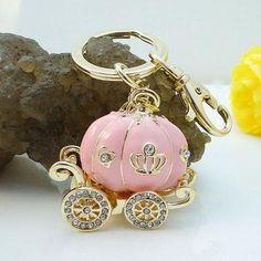 Pumpkin Carriage Crown Keychain Charm Swarovski Crystal (: