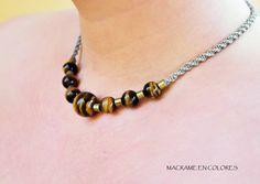 Collar macramé ojo de tigre y metal por macrameencolores en Etsy