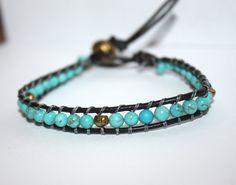 Hand- Made Boho Semi-Precious Turquoise and Gold Fresh Water Pearl Wrap Leather Bracelet, $16.50
