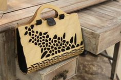 Wooden Handbag, clutch bag, plywood fashion women bag, silk and wood Designer handbag, eco fashion bag, Voronoi & Delaunay pattern