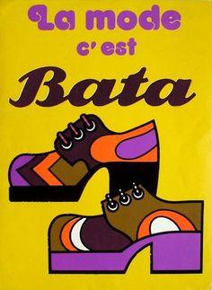Vintage poster Logo Design La mode c'est (Fashion is) Bata Retro Advertising, Vintage Advertisements, Vintage Prints, Vintage Posters, Pub Vintage, French Vintage, Poster Design, Logo Design, Retro Poster