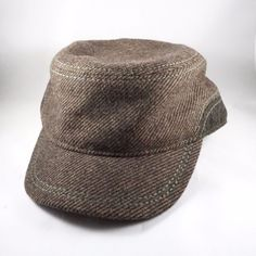 NWT Daniel Cremieux Mens Striped Brown Wool Army Cap Hat Size M L   DanielCremieux 900c236546c9