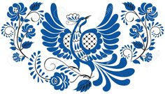Russian National Floral Pattern - Gzhel Bird On The Branch With.. Royalty Free Cliparts, Vectors, And Stock Illustration. Pic 15307019.