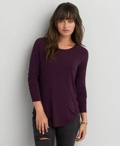 American Eagle Soft & Sexy Jegging (Jeans) T-Shirt, Women's, Deep Burgundy