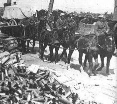 WW1 - Canadian Corp pass spent shells at Vimy
