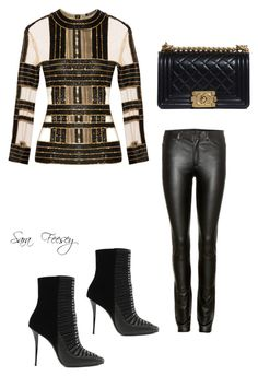 """""""Untitled #160"""" by sara-elizabeth-feesey on Polyvore featuring Balmain, Helmut Lang and Chanel"""