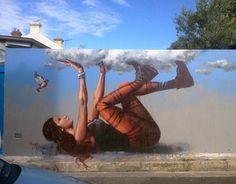 Increíble arte en mural creado por Fintan Magee - Street art by Fintan Magee Murals Street Art, 3d Street Art, Urban Street Art, Amazing Street Art, Mural Art, Street Art Graffiti, Street Artists, Banksy Graffiti, Mural Painting