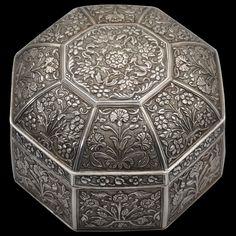 Asian Art   Octagonal Silver Box & Cover (Pandan) - The Curator's Eye