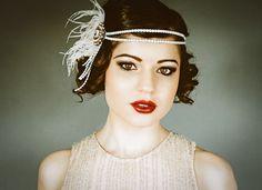 Flapper Headband - Blush and Ivory with Crystal | danani