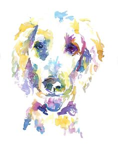 "Print of Watercolor Painting ""Skeeter the Poodle"" 8 x 10 Print of Watercolor Painting Pink Fuschia Orange Yellow Dog"