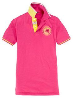 Napapijri - pinkes Poloshirt mit auffälligen gelben Details aus reiner Baumwolle.