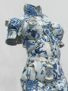 Chinese artist Li Xiaofeng uses shards of broken porcelain to create stunning costumes.  Li Xiaofeng, Whirling, 2012, Qing Period shards. Photo: Courtesy of Red Gate Gallery and the artist