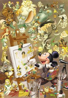 It's funny becuase Walt Disney is the original voice of Mickey and Mickey is making everything. I heart disney Disney Pixar, Walt Disney, Retro Disney, Disney Films, Disney Animation, Disney And Dreamworks, Disney Love, Disney Art, Disney Characters