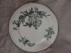 "Antique Royal Gustafsberg 1887 Dinner Plate Green with Bird 10"" Wexio"