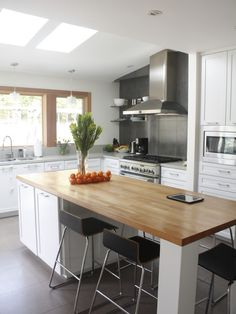 Gray Home Exteriors Fitted with White Home Interior: Gorgeous Modern Glen Place Kitchen Design Wooden Table ~ SQUAR ESTATE Architecture Inspiration